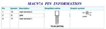 simistor MAC97A Pin
