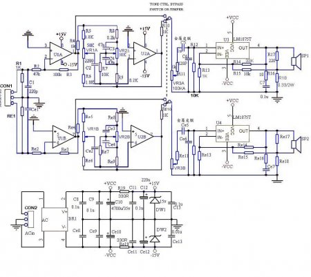 LM1875 Amp schematic with tone control and PSU