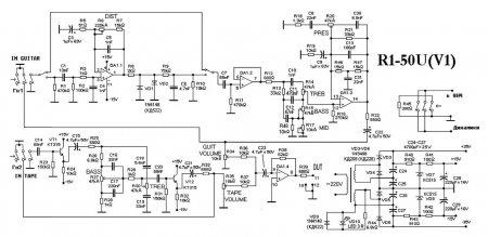 Принципиальная схема R1_50W_предварительный усилитель