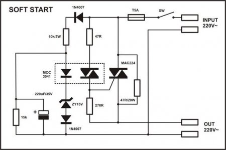 APEX Soft Start MAC224 schematic