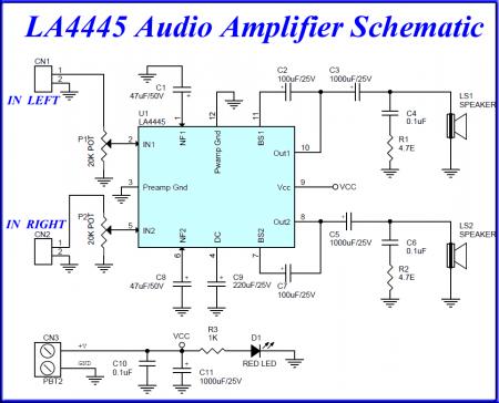 LA4445_5.5W_Audio Amplifier Schematic