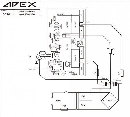 APEX AX12 _100W4R HI-FI_внешние соединения