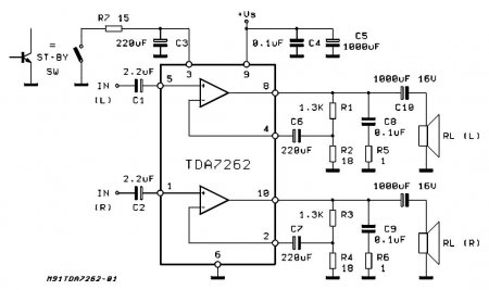 TDA7262 Amplifier Schematic