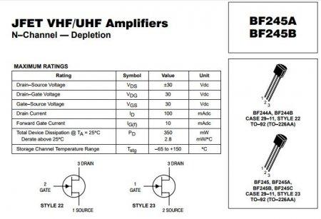 Цоколевка транзистора BF245