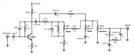 Discret Preamp with tone control schematic