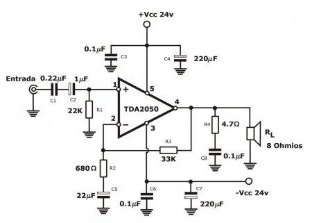 TDA2050 Amplifier schematic