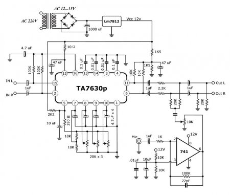 Preamp with MIC Input TA7630P Schematic