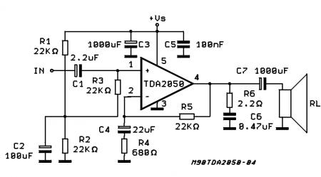 Схема усилителя на TDA2050 с однополярным питанием