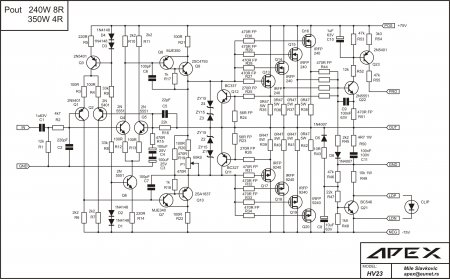 Схема усилителя мощности APEX HV23