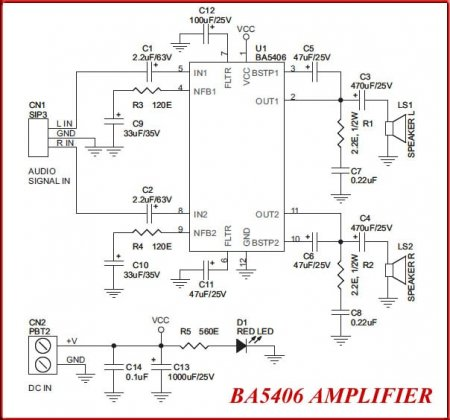 BA5406 Amplifier Schematic