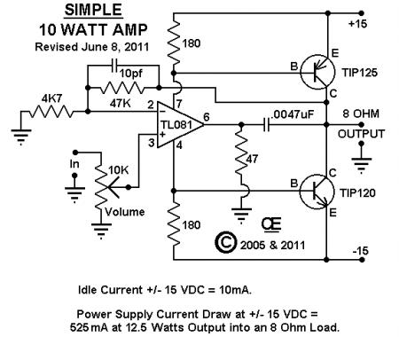 Усилитель 10W на TL081 Tip120_125 принципиальная схема