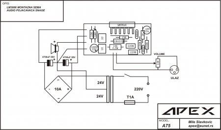 APEX A1 LM3886 схема внешних соединений
