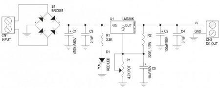 KOTEQ Regulated PSU LM338K schematic