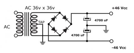 100W Amplifier PSU Schematic