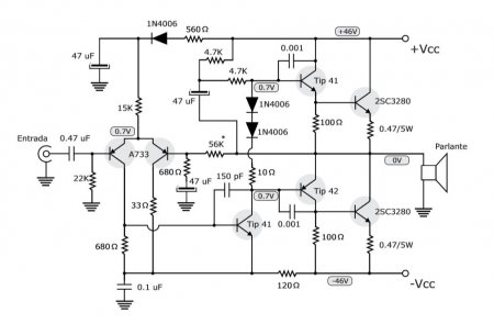 100W Amplifier with NPN transistors schematic