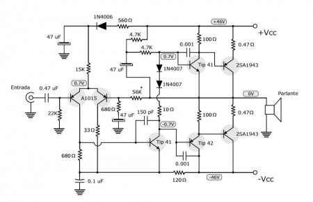 100W Amplifier with PNP transistors schematic