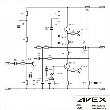 APEX AX6 amplifier schematic