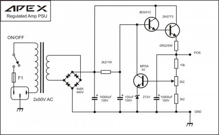 APEX Single Regulated PSU Schematic