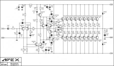 Принципиальная схема усилителя APEX BA1200