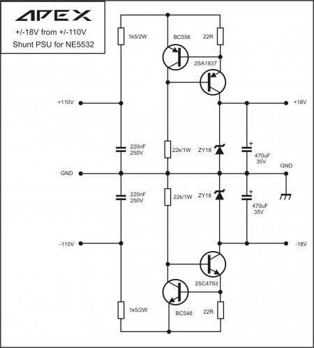 APEX BA1200 PSU 18-0-18V DC Schematic