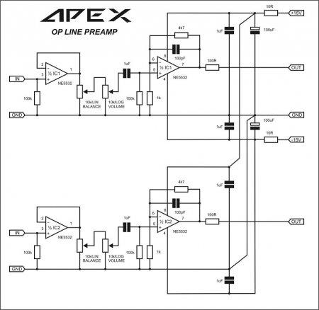 APEX OP line preamplifier schematic