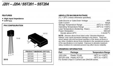 Расположение выводов полевых транзисторов J201-J204
