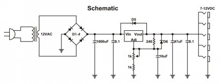 PedalBoard 9V PSU Schematic