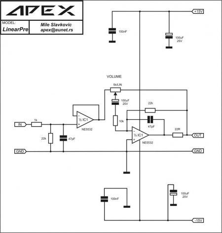 APEX A2 Linear Preamplifier Schematic