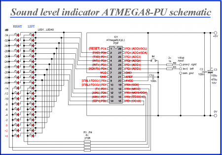 Sound level indicator with 2x 20 LED ATMEGA8 Schematic
