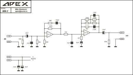 Phono APEX MM3 preamp, sensitivity 2,5mV, RIAA +-0.2dB