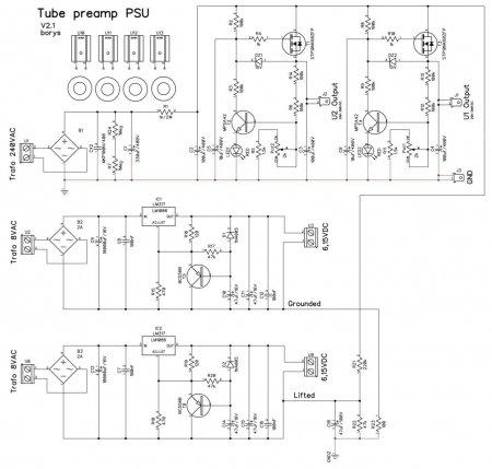 Tube Preamp PSU Schematic