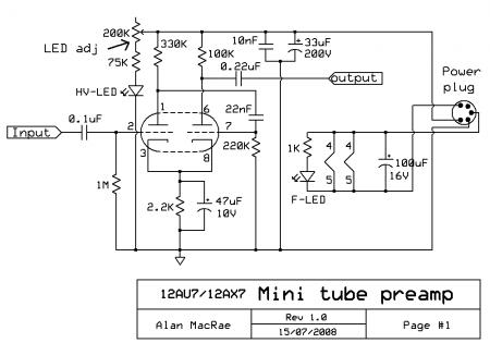 12AX7_12AU7 MINI Tube Preamp Schematic