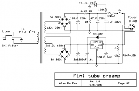 12AX7-12AU7 MINI Tube Preamp Power Supply Schematic