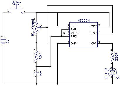 Схема IR передатчика на NE555