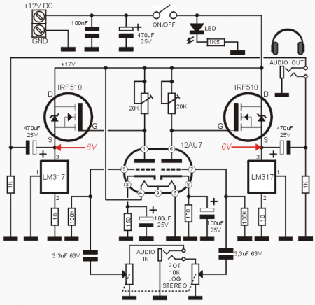 Headphone AMP 12AU7 + IRF510 Schematic