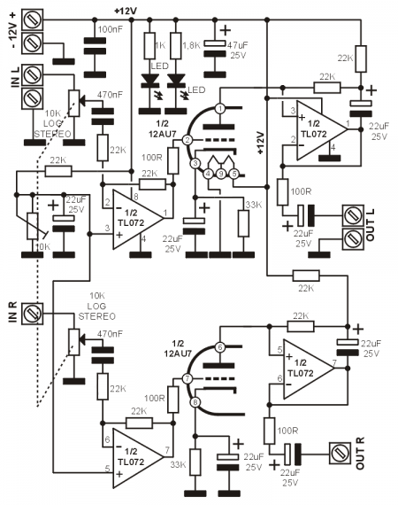 Preamplifier with 12AU7 and TL072 _Schematic