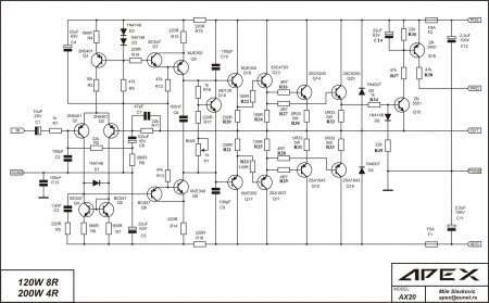 APEX AX20  120W-8R  200W-4R amplifier schematic