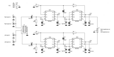 Schematic Headphone Amplifier with BUF634