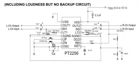 PT2256_INCLUDING LOUDNESS BUT NO BACKUP Schematic