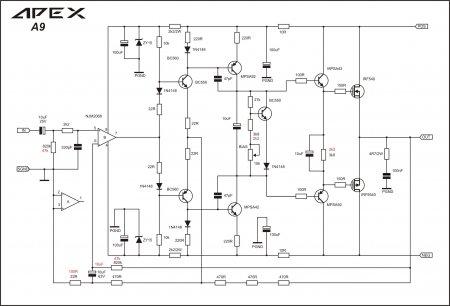APEX A9 схема с новыми красными значениями для быстрого сервоуправления постоянным током_высоким смещением и низким коэффициентом усиления