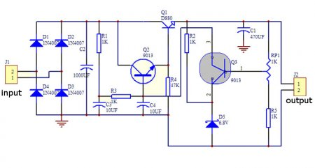 Reg PSU 8-14V DC 2SD880 Schematic