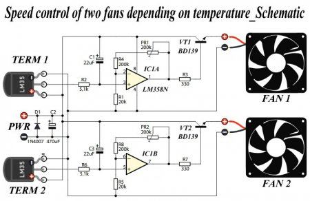 Control of two fans depending on temperature_Schematic