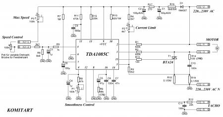 Регулятор оборотов на TDA1085C НЕМЕЦ МОД Схема