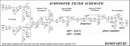 Subwoofer Filter Schematic KOMITART