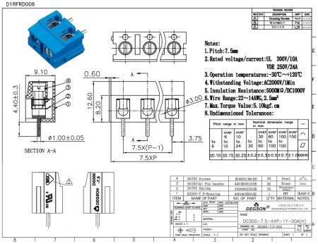 Клеммник винтовой  2-контактный  7.5мм DG300-7.5-02P-12