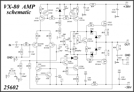 VX-80 AMPLIFIER Schematic