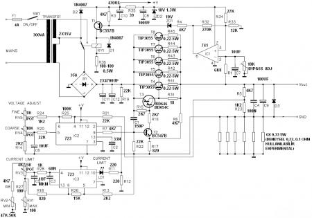 LAB PSU 0-30v_10a Velleman k7200 Schematic