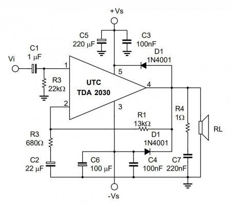 TDA2030 datasheet schematic