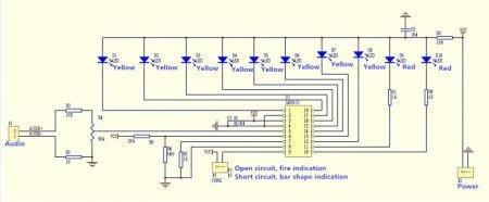 Схема светодиодного индикатора уровня V1