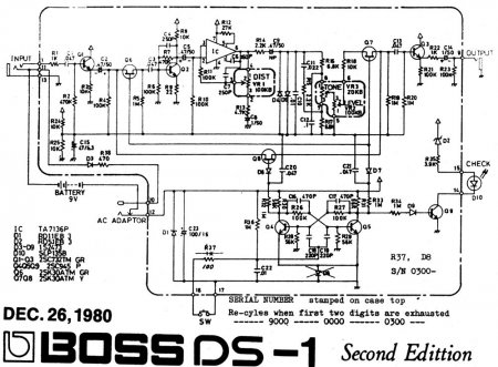 Boss DS1 Distortion with TA7136AP Schematic